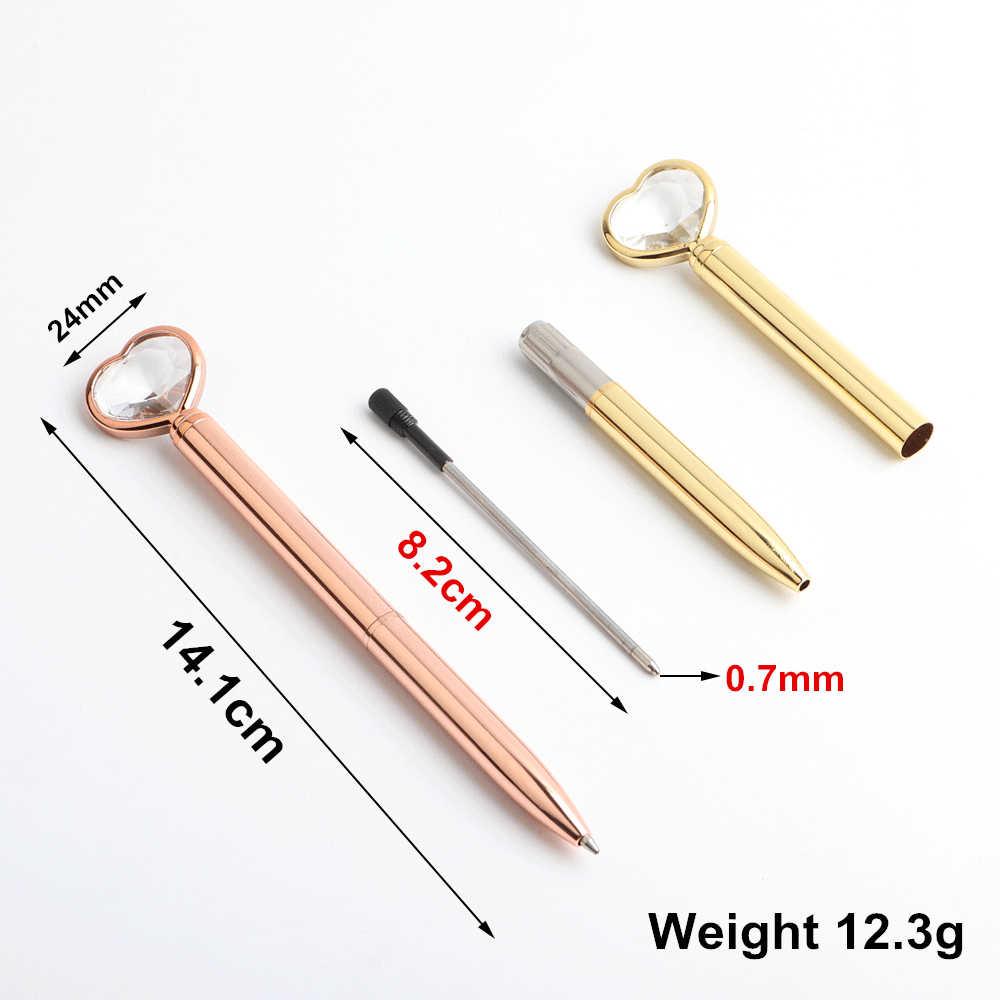 Genkky duży diament długopis berło w kształcie serca długopisy szkolne prezent biurowy papiernicze materiał metaliczny wysokiej jakości długopisy
