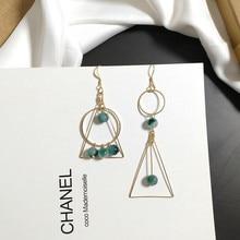 2019 Womens Earrings Vintage Green Stone Pendants Charm Natural Long Asymmetric Geometric For Women