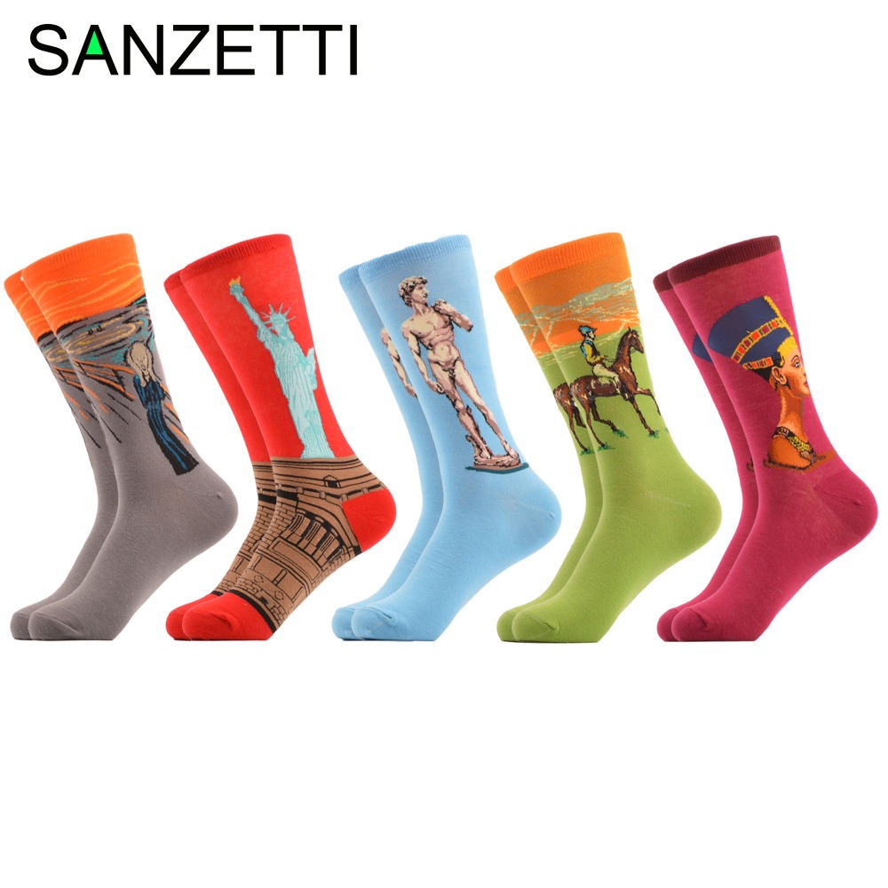 SANZETTI 5 pairs/lot Mens Funny Combed Cotton Novelty Casual Dress Colorful Crew Socks