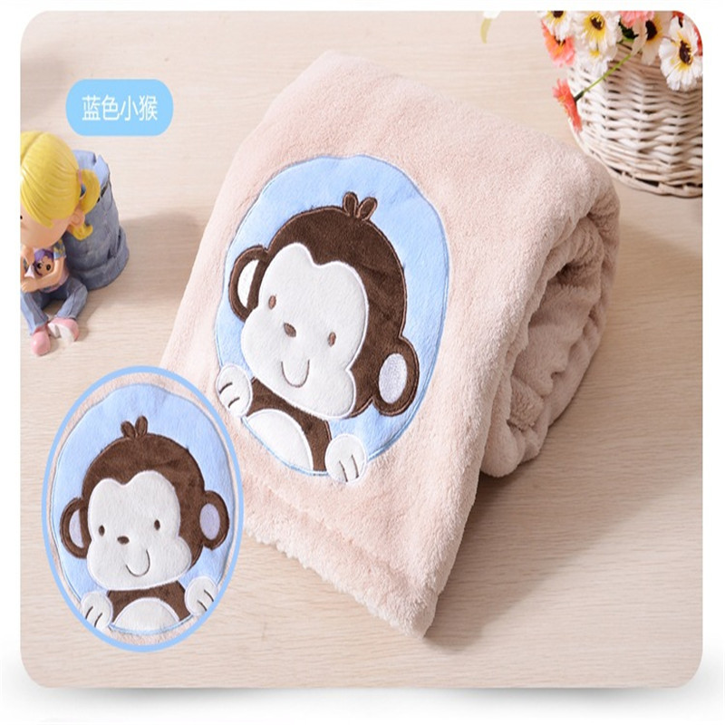 Candid Free Shipping Newborn Baby Blankets Thicken Warm Coral Fleece Cartoon Monkey Infant Swaddle Envelope Bebe Bedding Blanket Pretty And Colorful Blanket & Swaddling