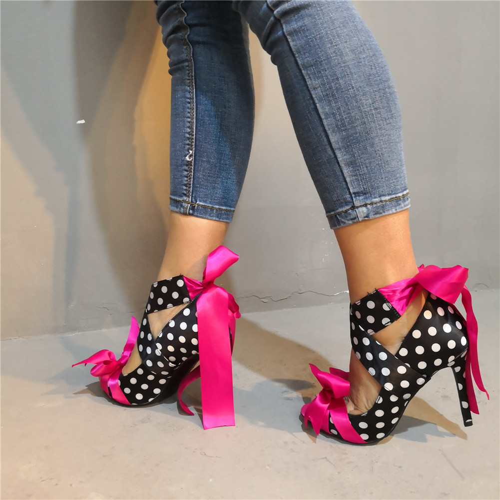 SARAIRIS Brand New Polka Dot Riband Bow Plus Size 47 Sexy Party Women Shoes 2019 Summer High Heels Shoes Woman Sandals