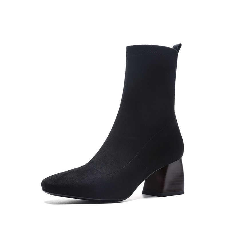 Vangull kadın botları İngiliz tarzı akın kadife streç çizmeler rahat moda iç deri avrupa ve amerikan tüm maç