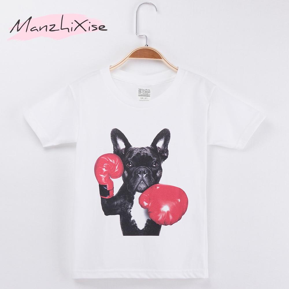 2019 Crianças T-shirt 3D Prench Bulldog de Boxe Top Cotton Curto Camisa Criança Crianças Camisas de T Para Menina E Do Menino Do Bebê roupas Camiseta
