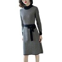 Весенне осеннее женское трикотажное платье 2019 новый высококачественный суконный пуловер в полоску трикотажный свитер средней длины Lj119