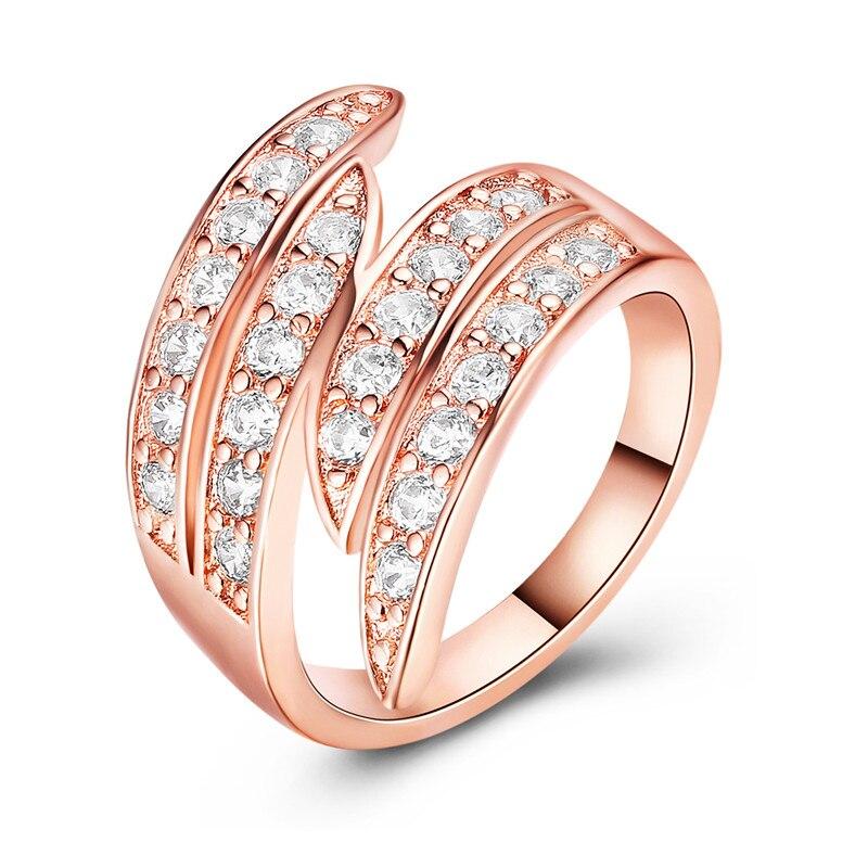 Розовое золото Кристалл кольцо Для женщин Мода темперамент Jewellery Обручение кольца Мемориал День присутствует