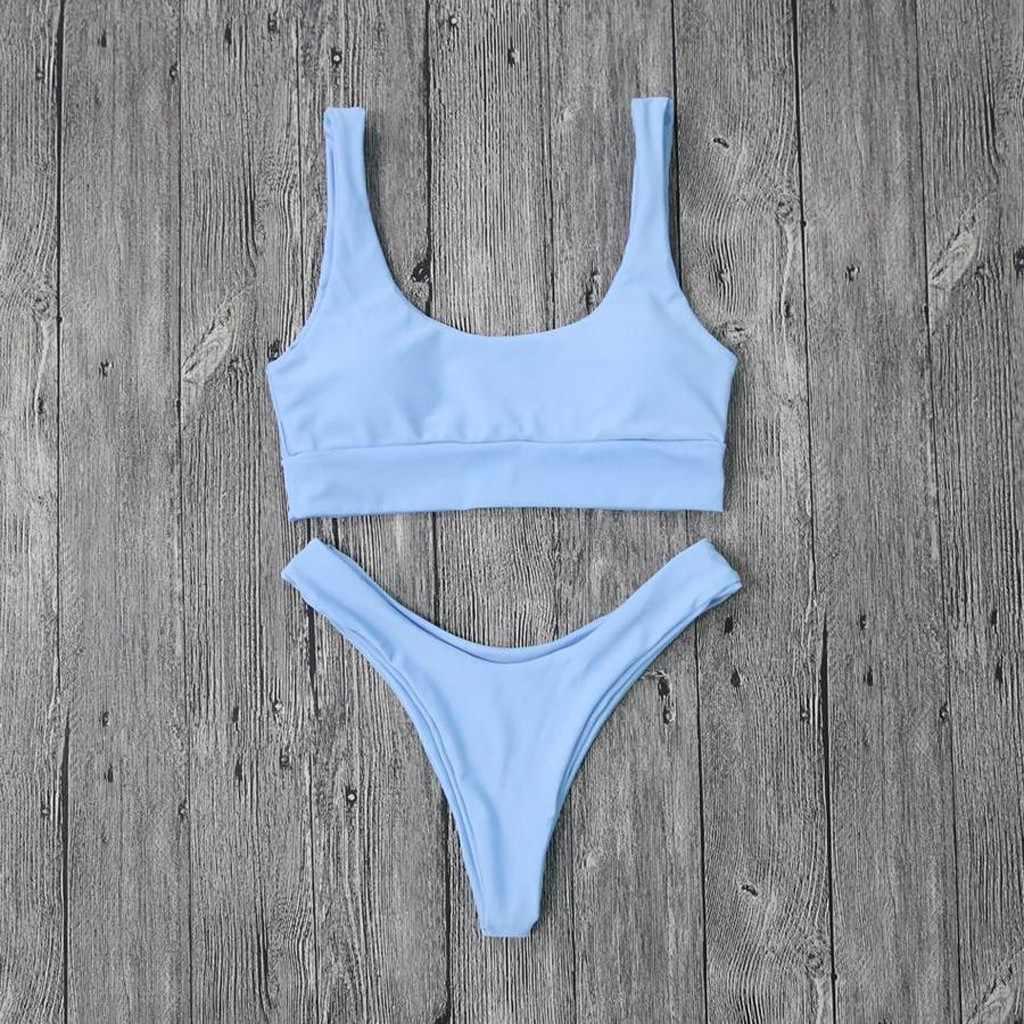 Olahraga Baju Renang Wanita Biru Seksi Bikini Set Thong Leher Bulat Rendah Wanita Pinggang Tinggi Pakaian Renang PUS Up Belakang Terbuka biquinis