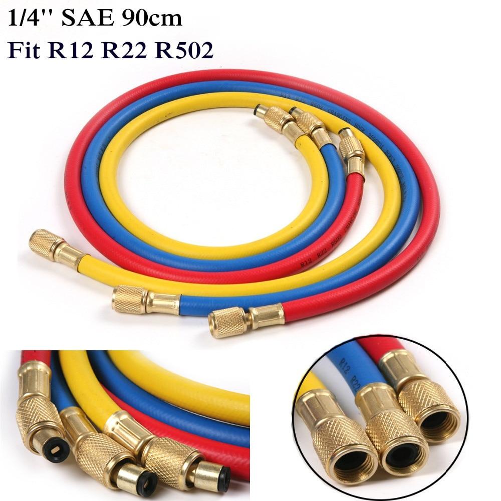 Тұрақты ыстық 1/4 '' SAE 90cm A / C зарядтауға арналған шлангілер түтігі бар құбыр тоңазытқышы R12 R22 R502 Автокөлік кондиционерлеріне арналған құралдар 3 түс