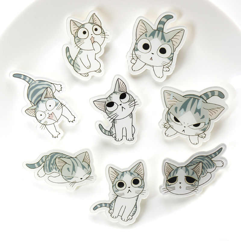 Nengdou Y12 Cute Icons Cat brooch Cat Badge for Clothing/Bag/Coat/T-shirt Cartoon Icons On Backpack Acrylic Brooch Kawaii Pins