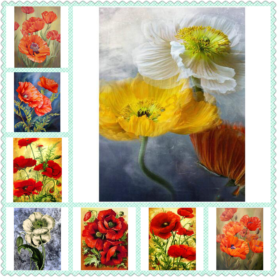 red poppy flowers vase Resin drill DIY 5D round Diamond Painting ...