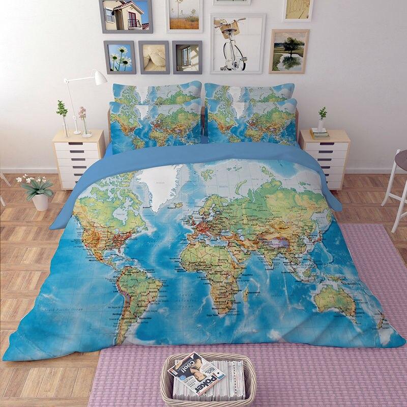 Карта мира постельного белья пододеяльник, простыня из наволочки queen King Размеры Multi Размеры s 3/4 шт Новое поступление 2017 года