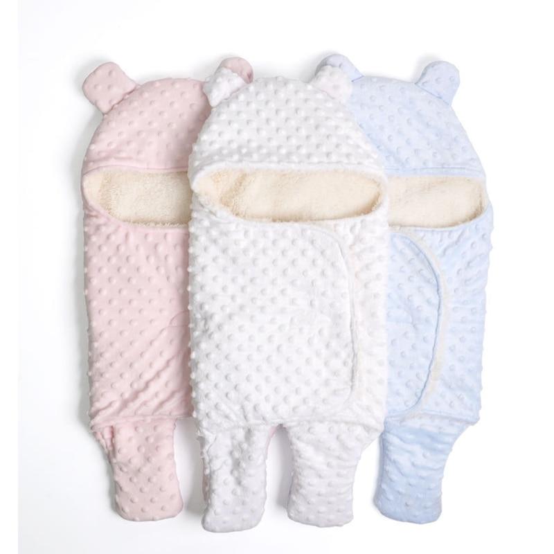 Fleece Baby Blanket Newborn Baby Swaddle Wrap Soft Winter Baby Bedding Receiving Blanket Manta Bebes Sleeping Bag 0-18M Newborns