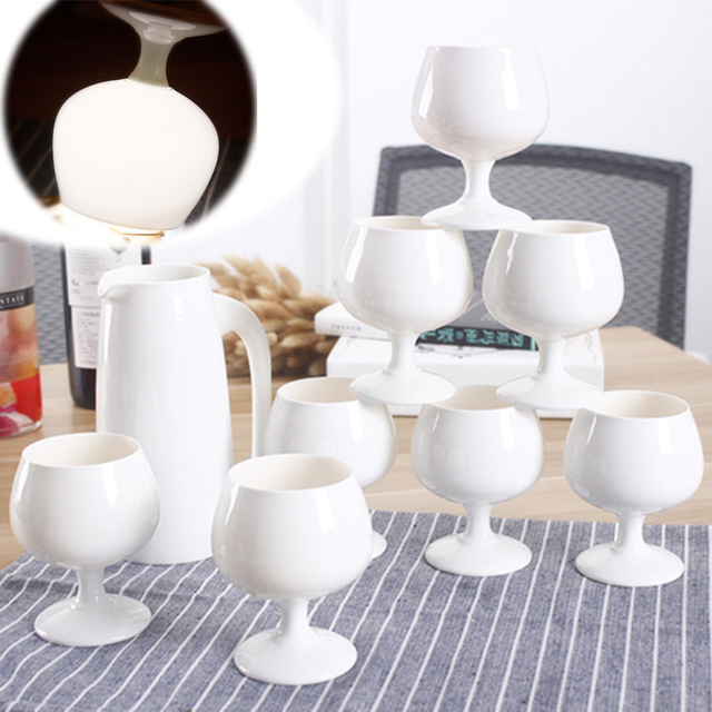 Handmade High Quality White Ceramic Bone China Wine Goblet Set Personalized Barware Gift Porcelain Stemware Red