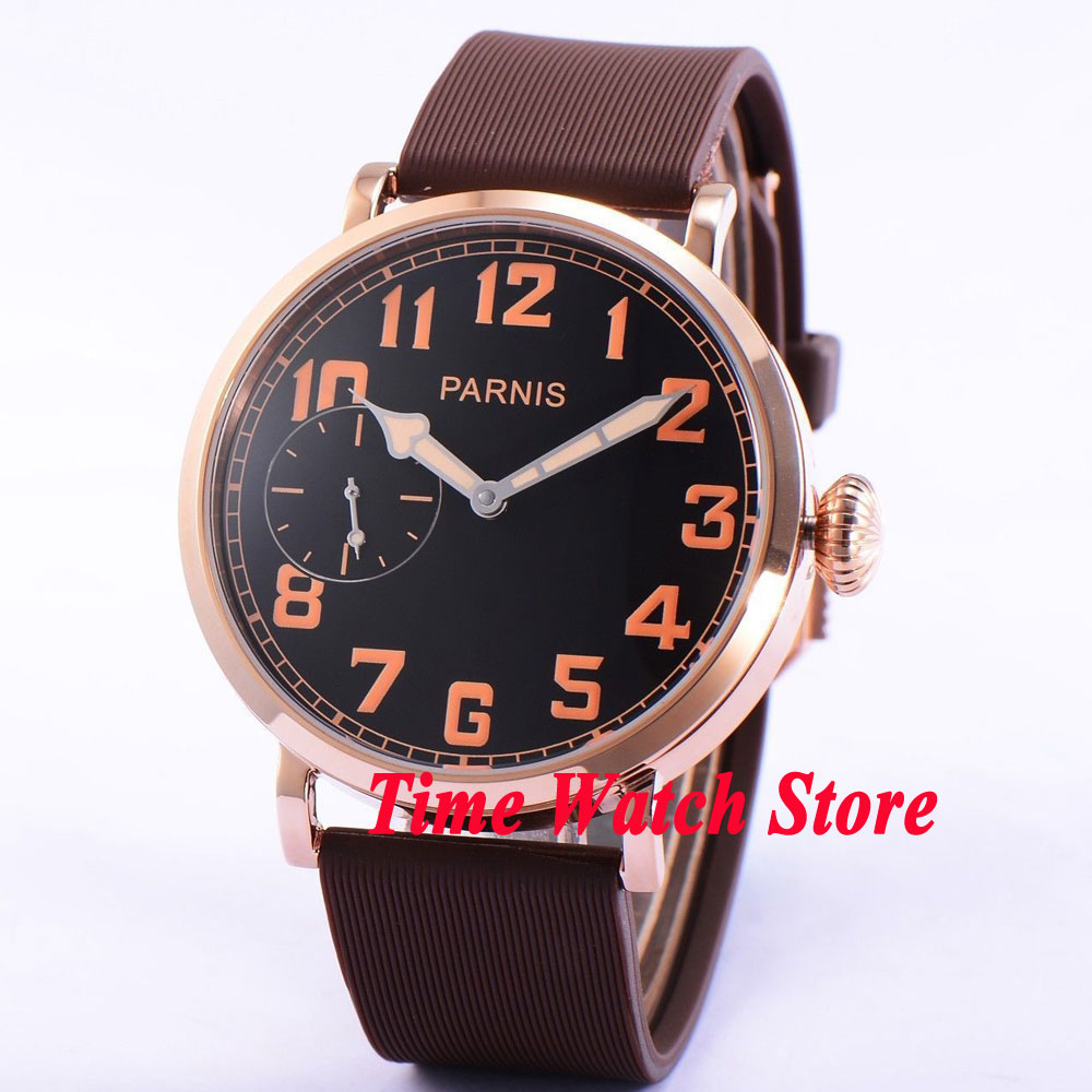цена 46mm parnis black dial Arabic numbers luminous golden case deployant clasp 6497 hand winding movement mens watch 405 онлайн в 2017 году
