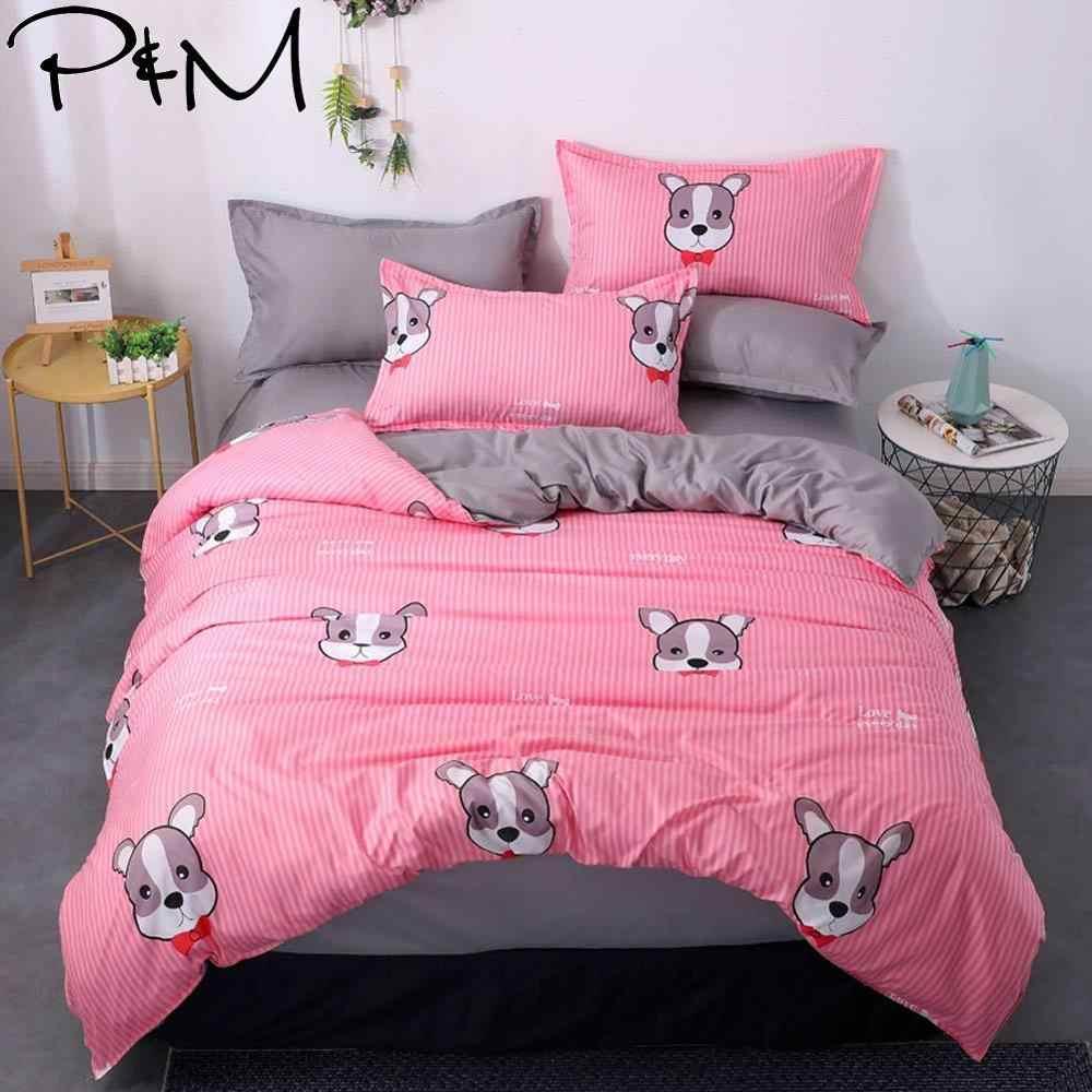 2019 Kartun Hewan Peliharaan Anjing Merah Muda Seprai Tempat Tidur Sikat Microfiber Kain Poliester Selimut Penutup Set TWIN Penuh Ratu Raja Set Tempat Tidur