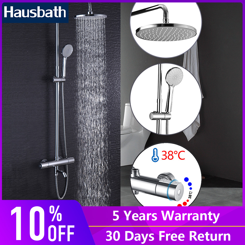 Bathroom Shower Set Thermostatic Faucet Ceramic Mixing Valve Rain Shower Hand Shower Head Chrome Brass luxury high quality bathroom chrome rain shower set thermostatic shower faucet bath