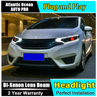 Для Honda Fit фары 2014 2017 модели Тюнинг автомобилей Светодиодный автостайлинг, ксеноновый объектив Автомобильный светодиодная подсветка H7 свет