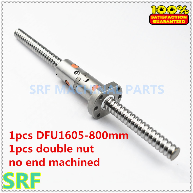 100% Brand New 16mm Ballscrew DFU1605 Rolled Ball screw L=800mm +1pcs Double Ball nut without end machined for CNC parts 16mm dia rolled ballscrew rm1605 l 350mm c7 1pcs double ball nut without end machined