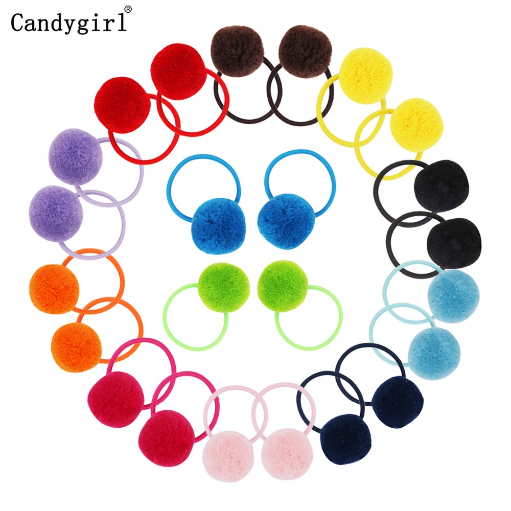 720pcs Girls Womens Ponytail Holders Plush Ball Hair Ring Elastic Rope Tie Accessories Rubber Band Beaddress