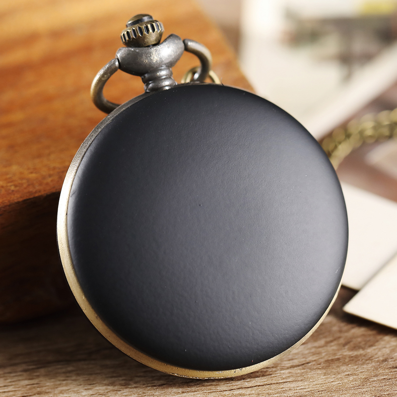 Vintage Black Smooth Pocket Watch Men Women Necklace Prendant Gifts Steampunk Quartz Men Pocket Watch Fob Chain relogio de bolso vintage bronze fishing steampunk quartz pocket watch antique necklace pendant with chain clock men women gifts relogio de bolso