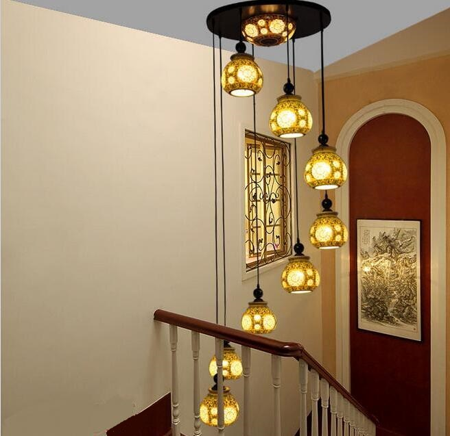 The new Chinese style pendant lamp living room lamp Jingdezhen ceramic lighting villa living room duplex floor rotating stair hand painted chinese style jingdezhen ceramic ceiling light for living room dining room aisle the entrance bulb included