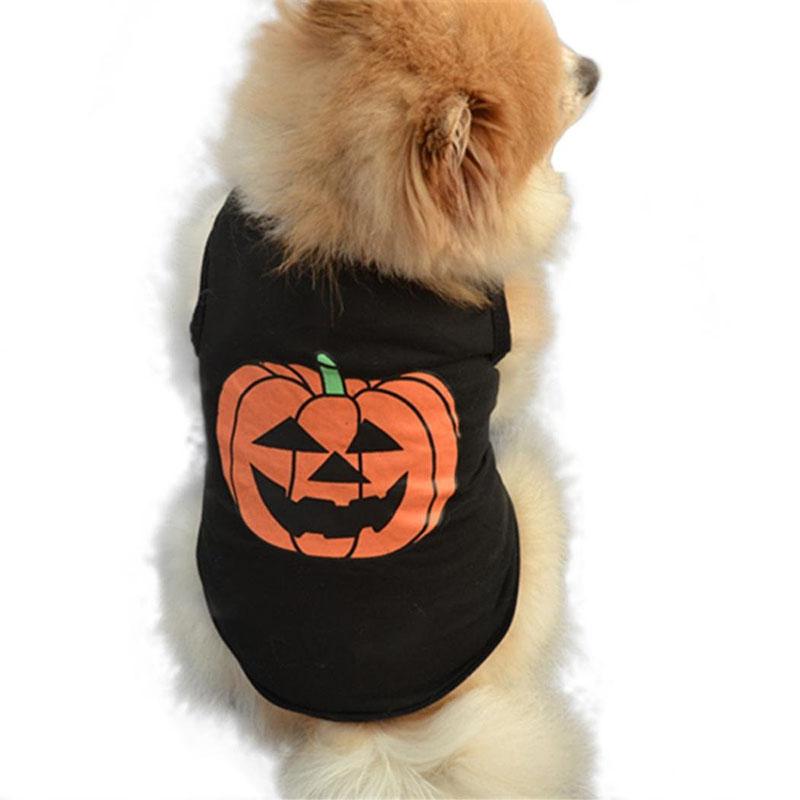 Halloween Pet Costume Dog Vest T Shirt Festivals Pumpkin Puppy Black T-shirt Cotton Pet Clothes for Doggie Cats Ferret4
