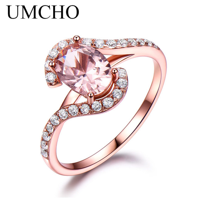 UMCHO Silver 925 Pink Sapphire Rings For Women Engagement Party Rose Gold Color