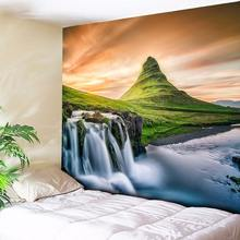 Waterfall Mountain Rock Natural Scenery Print Tapestry Wall Hanging Real Effect Lifelike Bohemian Wall Blanket Hippie Carpets