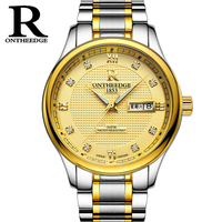 RONTHEEDGE Quartz Watch Stainless Steel Band Auto Date Diamond Luxury Business Wristwatches Male Watches With Gift