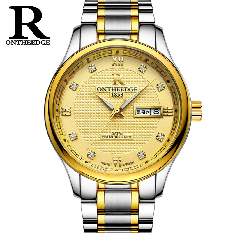 RONTHEEDGE Quartz Watch Stainless Steel Band Auto Date Diamond Luxury Business Wristwatches Male Watches with gift box RZY025