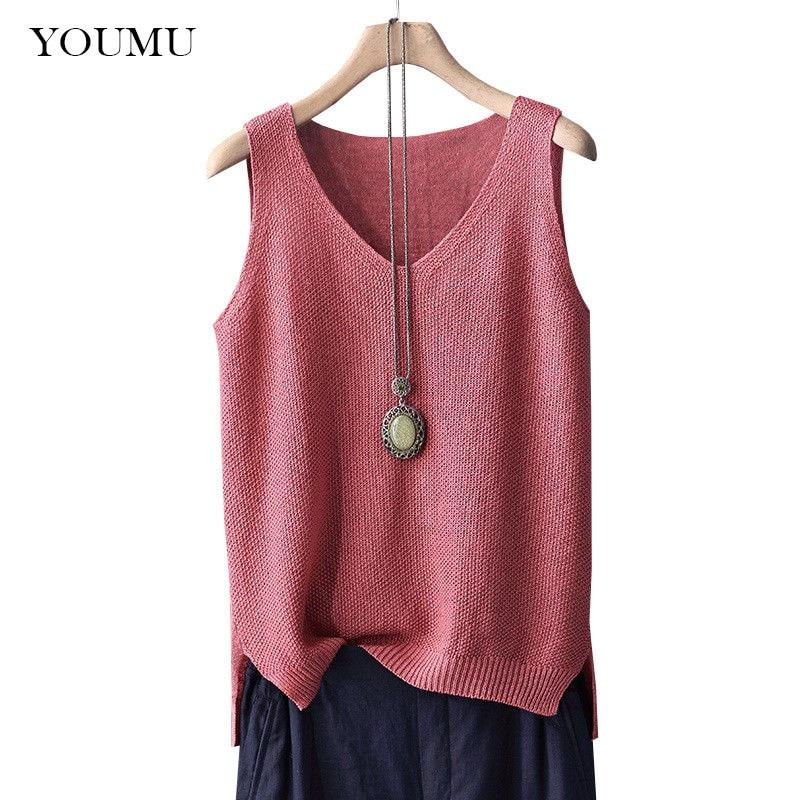 Women Linen Cotton Knitted Loose   Tank     Tops   Vest Camisole V Neck Sleeveless Shirt V-Neck Solid Color Vest 912-363