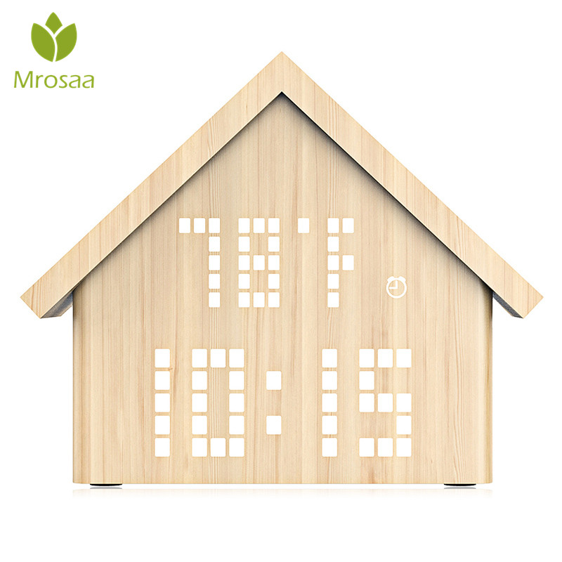 Mrosaa 1PC High quality LED Digital Alarm Clock Log Cabin Time Temperatur Wooden Table clocks Voice Control Desktop Clock