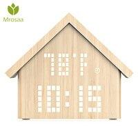 Mrosaa 1PC High quality LED Digital Alarm Clock Log Cabin Time Temperatur Wooden Table clocks Voice Control Desktop Clock