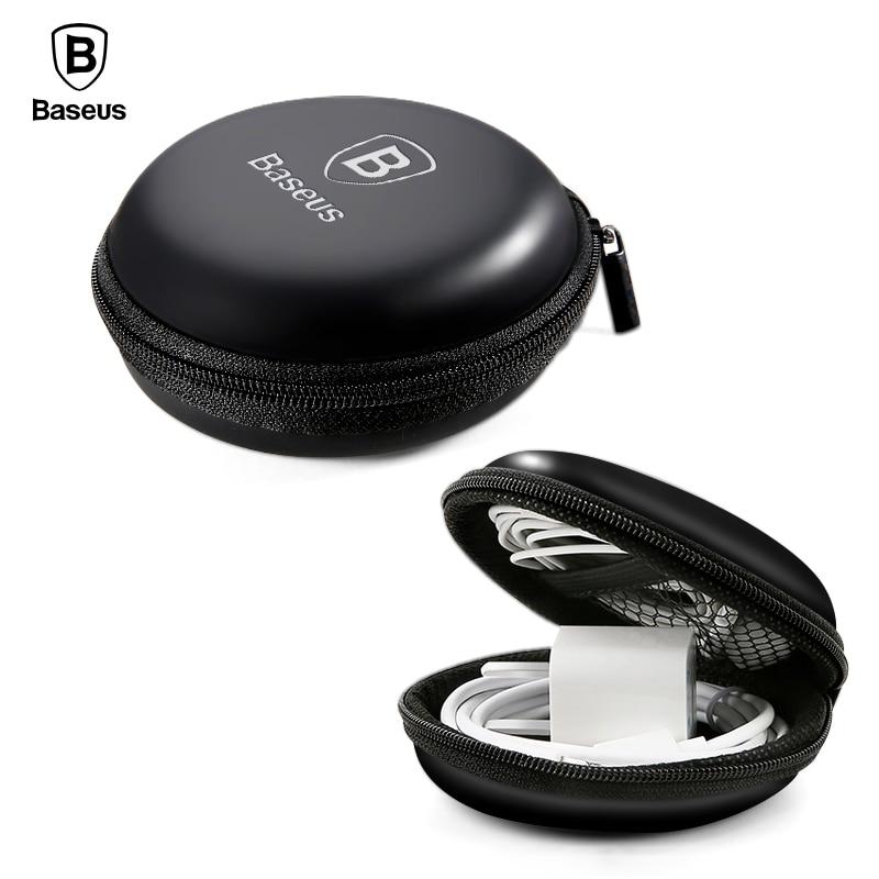 Baseus Headphone Earphone Case Srorage Hard Bag Mini Zippered Round Box For SD TF Card Cable U Disk Flash Drive Portable Case portable pp1440 cd zippered bag black page 6