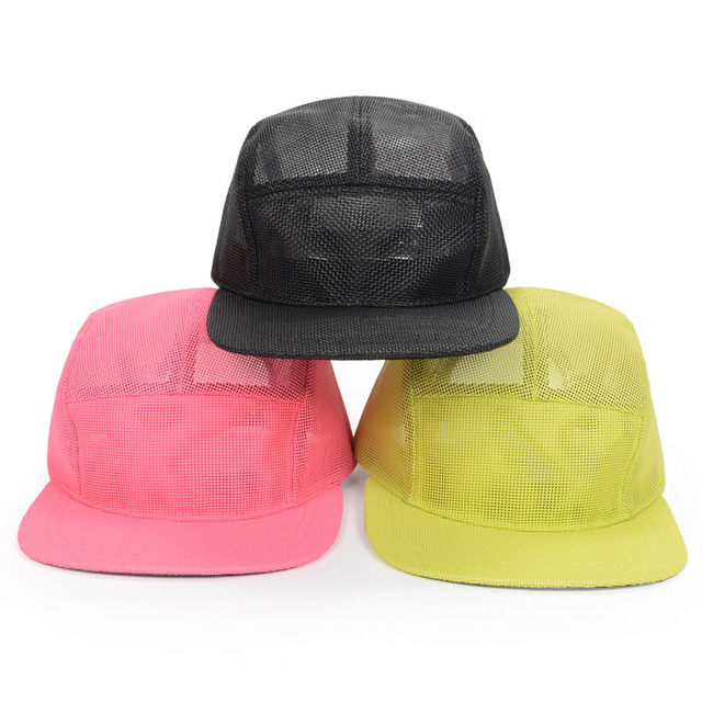 41ace271643 3 Colors 2015 Spring Summer Pink Black 5 Panel Mesh Caps High Quality  Snapback Hats 7 1 8 Breathable Sun Cap Snap Back Goldtop