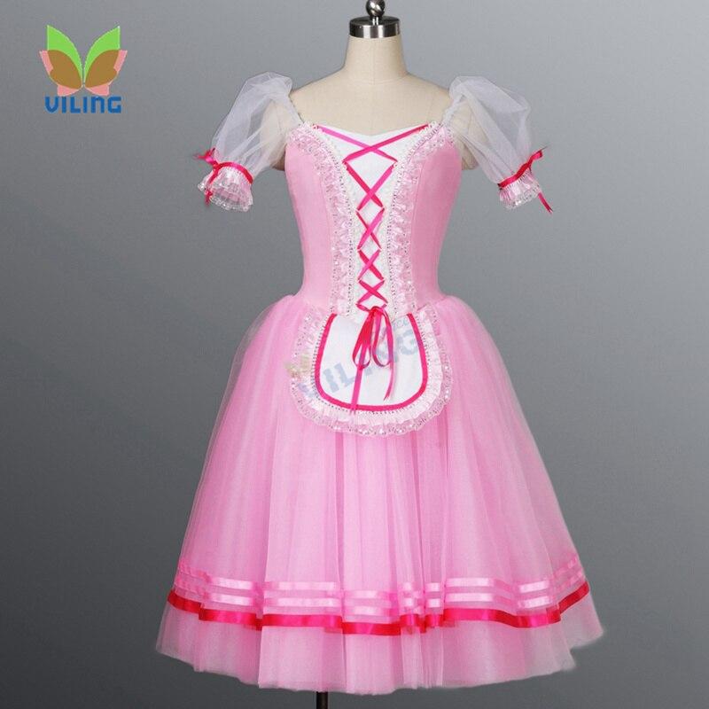 Профессиональный Классический балет тюль юбка пачка для девочек Жизель романтическая пачка длинное платье для «Лебединое озеро» Щелкунчи