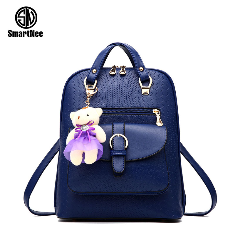 SmartNee Brand Korean PU Leather Backpack Women School Bags for Teenage Girls Cute Rucksack Vintage Laptop Backpacks Female #037