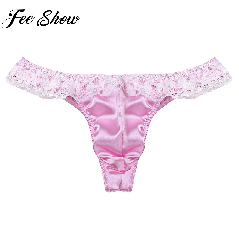 ea832a3fc6ee FEESHOW Mens Satin Ruffle Lace Frilly Thongs G String Sissy Pouch Panties  Soft Lingerie Clothing