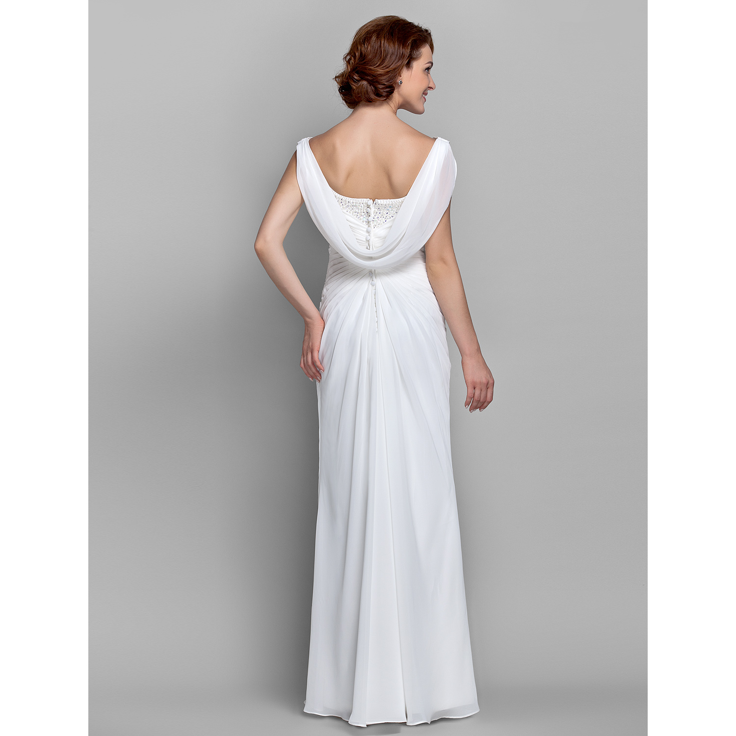 Sheath Column Cowl Neck Floor Length Chiffon Mother of the Bride Dress with Beading Buttons Crystal Detailing