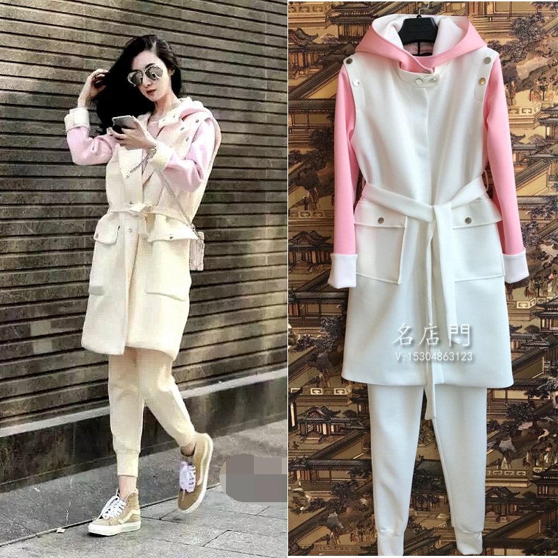 2018 Rushed Top Fashion Paragraph Of The Spring Section Of Cotton Air Visual Blind Two Casual Suit Tide Women's Dress 2 Suits