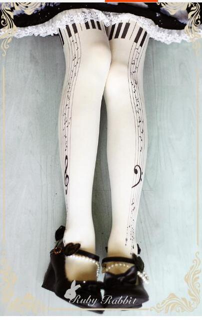 Princess sweet lolita pantyhose Original pendant rose LOLITA printing velvet pantyhose