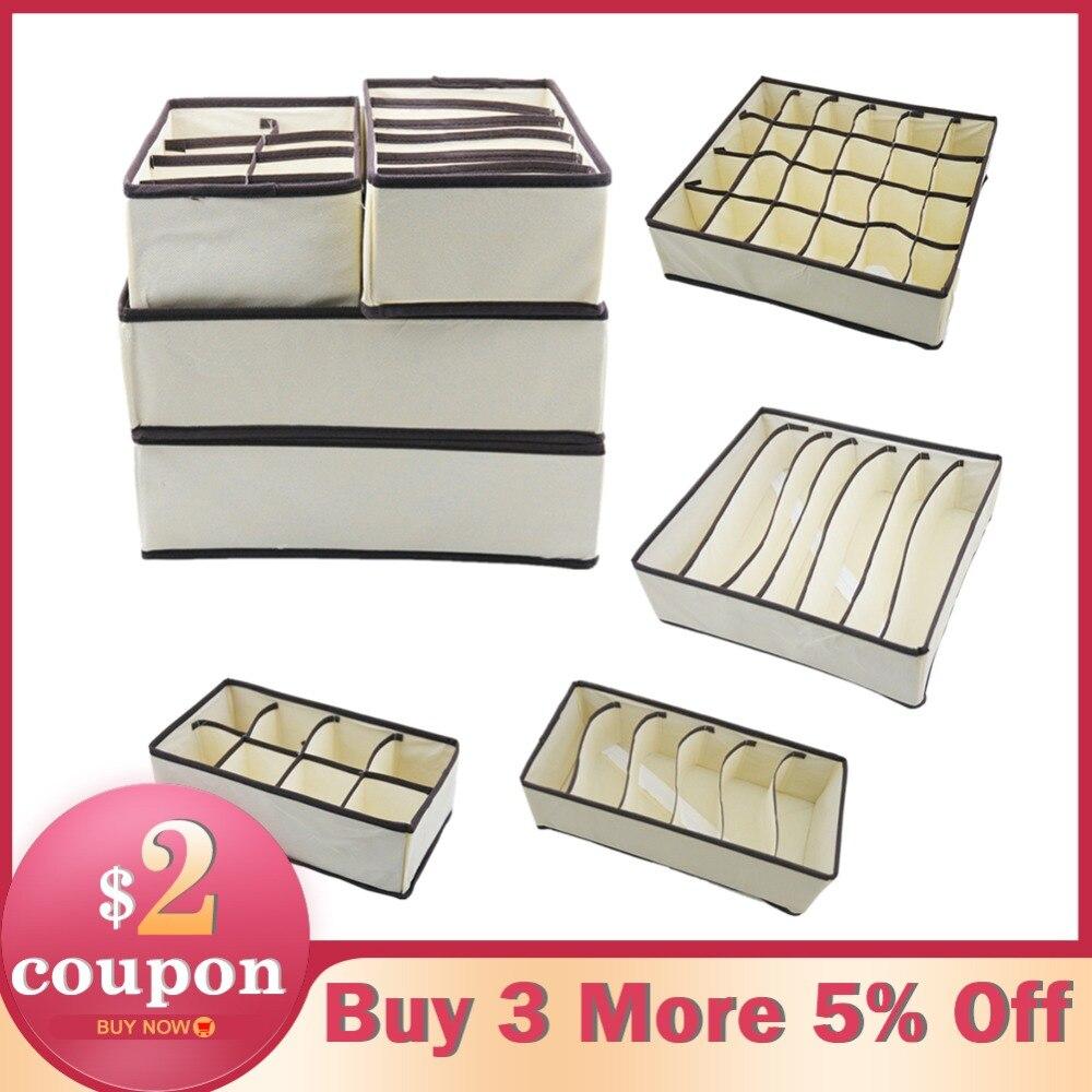 4 unids/set plegable ropa interior sujetador organizador caja de almacenamiento de cajón armario organizador caja para ropa interior bufandas calcetines sujetador Multi tamaño