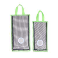Set of 2 Wall Mount Plastic Bags Holder Hanging Grocery Bag Container PVC+PP Grocery Bag Saver Mesh Grocery Bag Dispenser for
