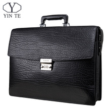 YINTE Fashion Men Briefcase Leather Men Bag Business Lawyer Briefcase High Quality 15inch Laptop Messenger Portfolio Tote T8010