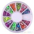6 Colores de uñas nail art sticker pegatinas de Neón Remache Cuadrado Del Metal Stud Rhinestone Fashion Nail Art DIY Decoración 03HM