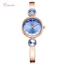 KIMIO Brand Stainless Steel Women Watches Luxury Blue Gem Rhinestone Bracelet Watch Waterproof Ladies Quartz Watch Montre Femme