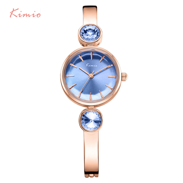 KIMIO Brand Stainless Steel Women Watches Luxury Blue Gem Rhinestone Bracelet Wa