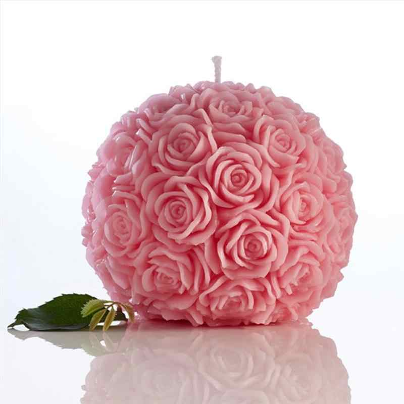 Creative Romantic Flower Candle Rose Ball Shaped Candle For Birthday Party Wedding Ornaments