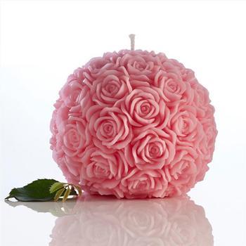 Creativa Romantica Flor Vela Rosa En Forma De Bola Vela Para - Adornos-para-cumple