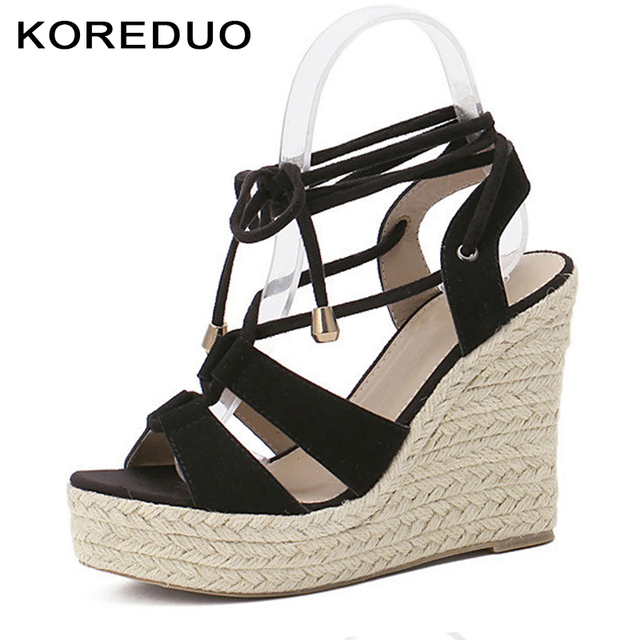 4aec003922c KOREDUO Women Gladiator Espadrilles Wedges Sandals Shoes Woman Rome Cross-tied  Pumps Straw Hemp Rope Thick Platforms Sandals mw