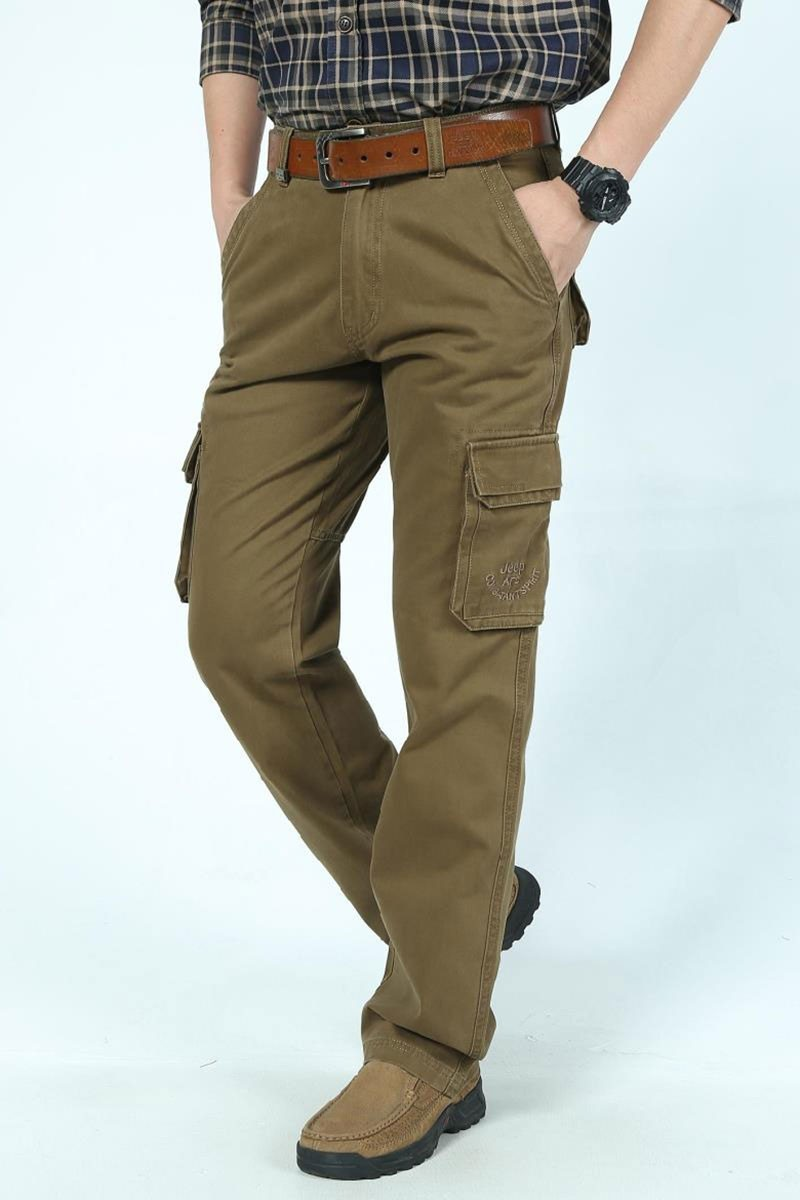 2016 Mens\' Spring Autumn Cotton Cargo Long Pants Pocket Brand AFS JEEP Casual Straight Plus Size Trousers Breathable Pants Khaki (13)